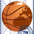 Postage stamp. Basketball — Stock Vector