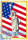 Postzegels met de vlag en de statue of liberty — Stockvector