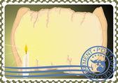 почтовая марка. бумага и свечу — Cтоковый вектор
