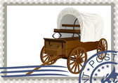 Postage stamp. Covered wagon — Stockvector