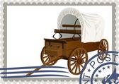 张邮票。盖货车 — 图库矢量图片