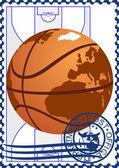 Briefmarke. basketball — Stockvektor