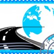 Stock Vector: Postage stamp. Road