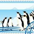 Postage stamp with penguins — Stock Vector