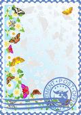 Estampilla. mariposas y flores — Vector de stock