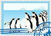 Postage stamp with penguins — Vector de stock