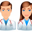 Male and female doctors. — Stock Vector