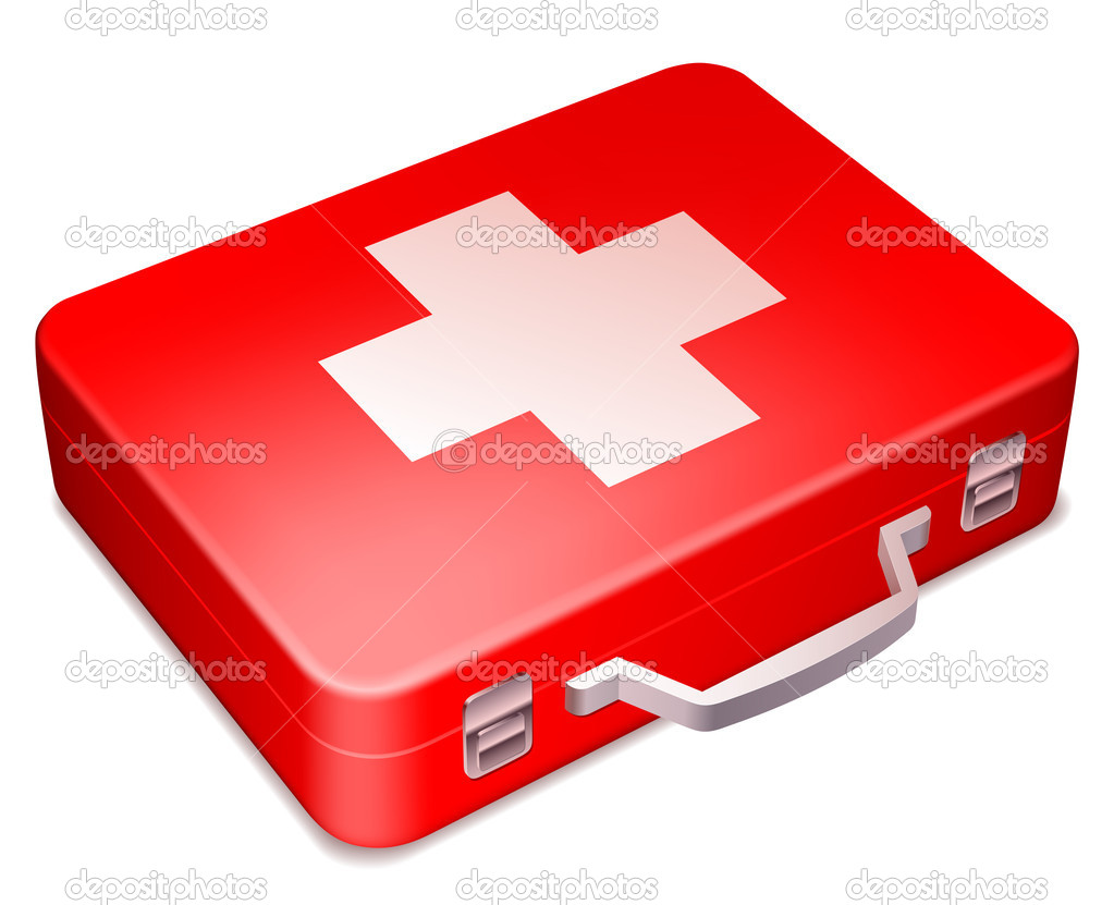 First aid kit on white background. — Stock Vector #8494389
