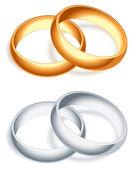 Wedding rings. — Stock Vector