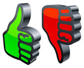 Thumbs up and down. — Stock Vector