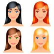 Women hair colors. — Stock Vector