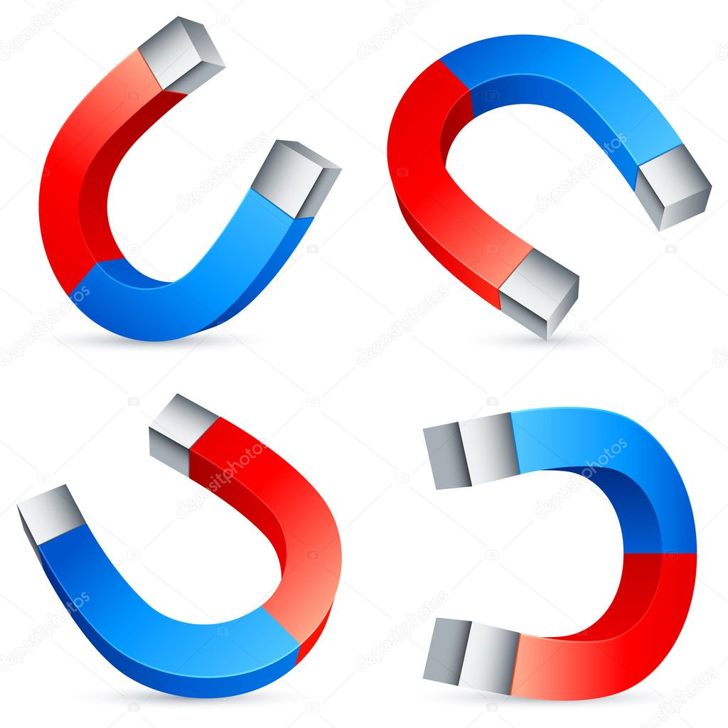 Set of 4 horseshoe magnets. — Stock Vector #9547888