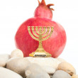 Menorah with pomegranate — Stock Photo
