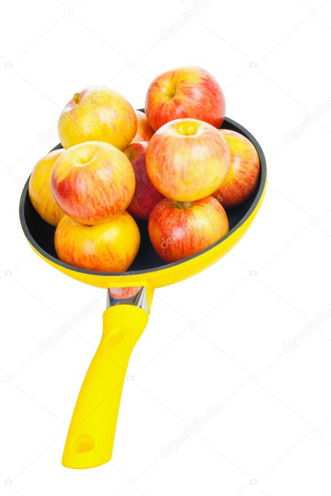 Yellow pan with apples isolated on white background — Stock Photo #10228752