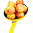 Yellow pan with apples — Stock Photo