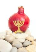 Menorah with pomegranate — Stock Photo