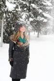 зимний портрет блондинка с меховой шляпе — Стоковое фото