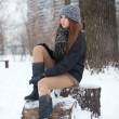Girl for a walk  in the winter - Stock Photo