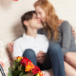 Roses and Couple Kissing — Stock Photo
