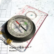 Royalty-Free Stock Photo: Compass with ruler on blueprints.
