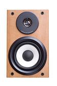 Akustiskt sound system med två högtalare i trä fall. — Stockfoto
