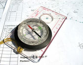 Compass with ruler on blueprints. — Stock Photo
