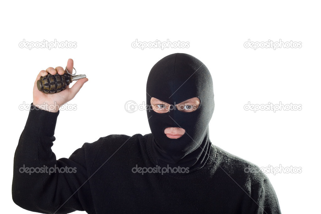 Terrorist in black mask with grenade. Isolated on white. — Stock Photo #8392680