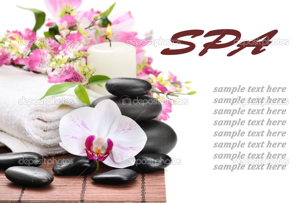 Zen basalt stones and orchid on the white — Stock Photo #9689322