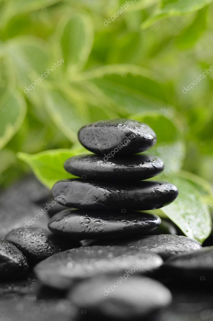 Zen basalt stones and bamboo on the wood  Stock Photo #9689414