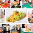 Chef cooking ravioli — Stock Photo #8978126
