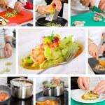 Chef cooking ravioli — Stock Photo