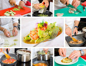 Chef cooking ravioli — Stock Photo