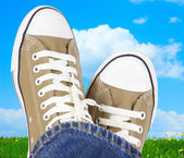 Feet in sneakers on the meadow — Stock Photo