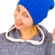 Portrait of a woman in a tuque — Stock Photo