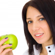 Stock Photo: Young happy smiling woman with apple