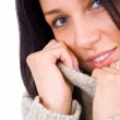 Close up portrait of young woman in sweater — Stock Photo