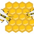 Honeycomb and Bees — Vector de stock #8389929