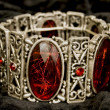Stock Photo: Bracelet with red stones