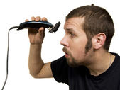 Man cuts his head — Stock Photo