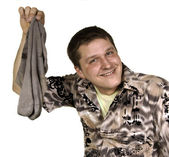 Smiling man with dirty socks — Foto Stock