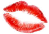Red lips isolated in white — Stock Photo
