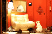 我与那只懒狗、 沙发和鞋子的空走廊 — 图库照片