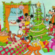 Mickey with family at Christmas tree - Stock Photo