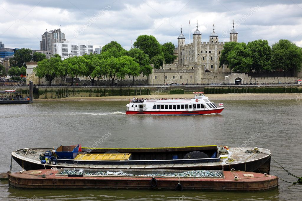 Tower of London on the Thames river, UK  Stock Photo #8080302