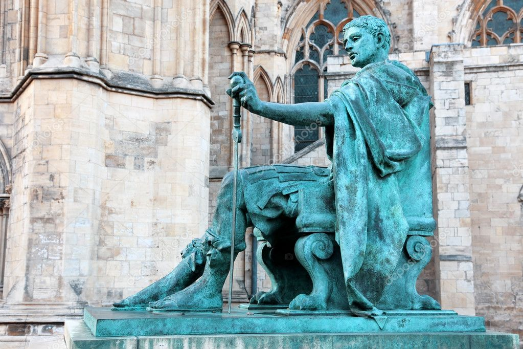 Statue of Constantine I outside York Minster in England , UK  Stock Photo #8202586