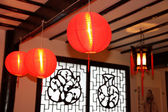 Chinese new year decoration is a Traditional lantern and plum bl — Stock Photo