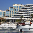 Luxury Yachts Docked In Front Of Waterfront Hotels — Stock Photo