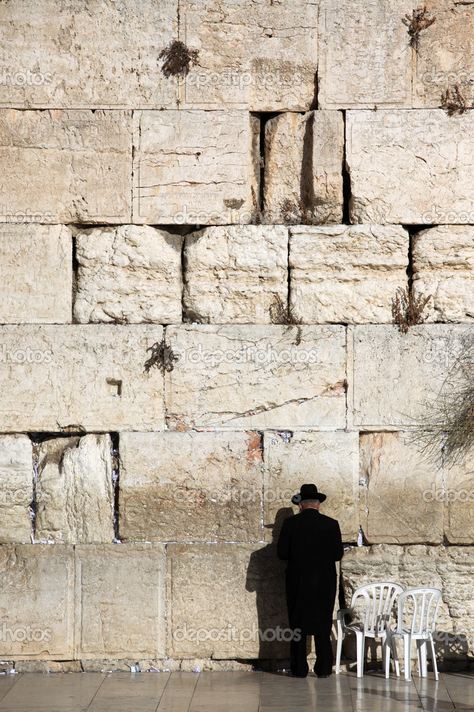 Jewish praying at the wailing wall, Western Wall, Kotel — Stock Photo #8734600
