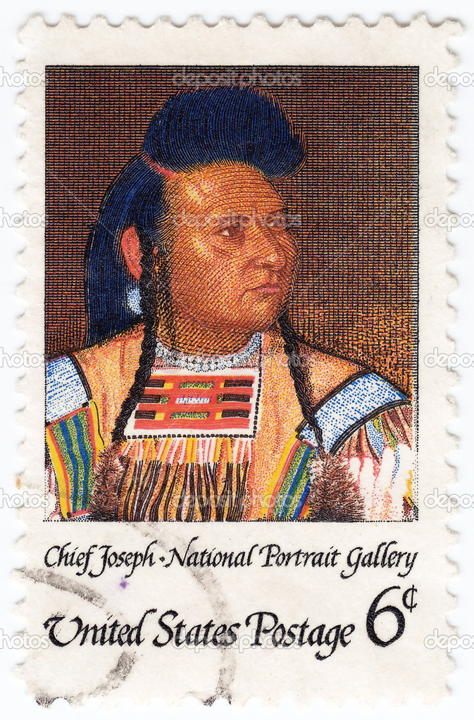 Stamp printed in the USA shows Chief Joseph, chief of the Wal-lam-wat-kain (Wallowa) group of Nez Perce in Oregon, humanitarian and peacemaker  Stock Photo #8774539