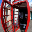 Inside Traditional red telephone box in London, UK — Stok fotoğraf